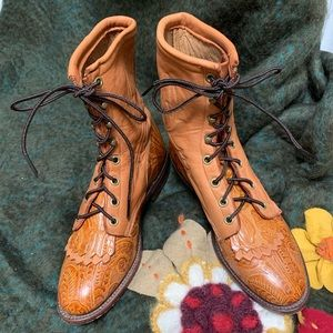 0f415808e85 Vintage Hand Tooled Larry Mahan Leather Boots